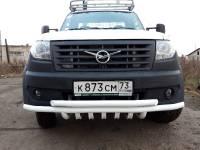 Дуга-защита переднего бампера УАЗ Профи сдвоенная с защитой рулевых тяг