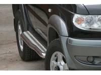 Пороги ТП на УАЗ Патриот с алюминиевой площадкой, с перегибом (краш.)